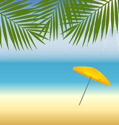 Yellow parasol at the beach under palm trees vector