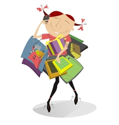 Funny girl goes shopping vector