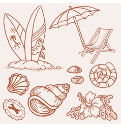 summer seaside doodles vector image