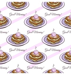 Pancakes seamless pattern vector