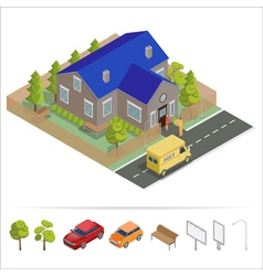 Postal service isometric house delivery truck vector