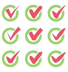 Check mark icons red tick check marks in green vector