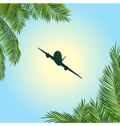 Airplane silhouette over sunny sky and palm trees vector