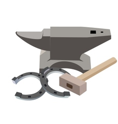 Anvil hammer and a horseshoe vector