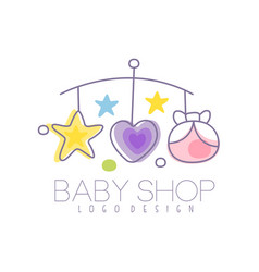 Baby care logo design emblem with baby bed vector