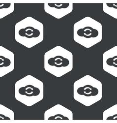 Black hexagon cloud exchange pattern vector