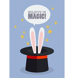 Bunny ears in magician hat vector