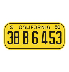 California 1950 license plate vector