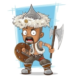 Cartoon barbarian mongol with axe vector image vector image