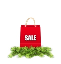 Christmas Shopping Sale Bag with Fir Branches vector image