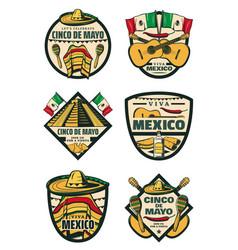 Cinco de mayo mexican fiesta holiday sketch icons vector