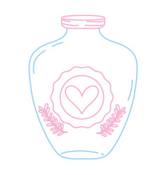 Color line mason jar with heart sticker and vector