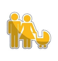 Couple with a baby cart vector