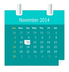 Flat calendar page for November 2014 vector image