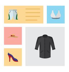 Flat dress set of brasserie trunks cloth heeled vector