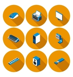 flat icons with accessories for personal computer vector image