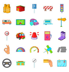 Lorry icons set cartoon style vector