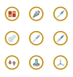 mechanism parts icons set cartoon style vector image