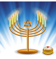 Menorah and red jelly donat vector