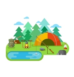 Outdoor Recreation Fishing Camp vector image vector image