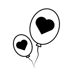 Pictogram balloons black hearts love design vector