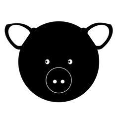 Pig head the black color icon vector