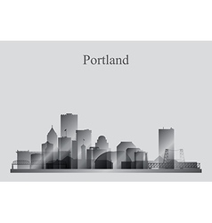 Portland city skyline silhouette in grayscale vector