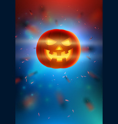 realistic glowing pumpkin with smiling face on vector image vector image