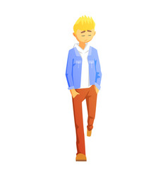 Sad guy in brown pants and jean jacket young vector