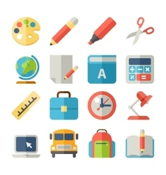 School and Education Flat Icons for Web Mobile vector image vector image