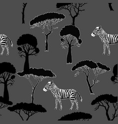 seamless pattern with zebra and savanna trees vector image vector image