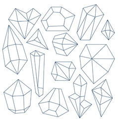 Set of mineral crystals on white background vector