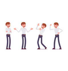 Set of young male clerk showing neative emotions vector