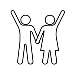 Silhouette pictogram man and woman taken of hands vector