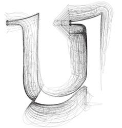 Sketch font letter u vector
