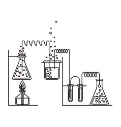 Sketch silhouette of scene chemical laboratory vector