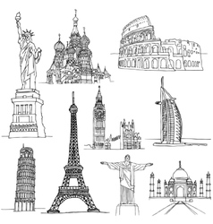 Sketches of Famous Places vector image vector image