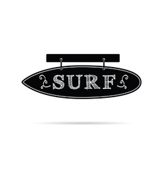 Surf icon on signboard in black and white color vector