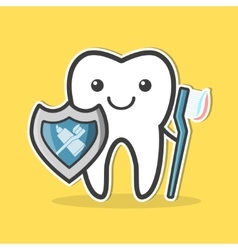 Tooth with shield and toothbrush vector