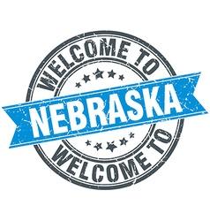 Welcome to nebraska blue round vintage stamp vector