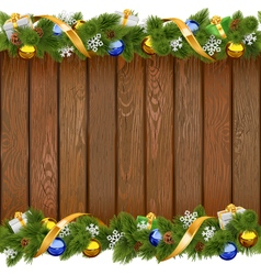 Seamless christmas board with golden ribbon vector