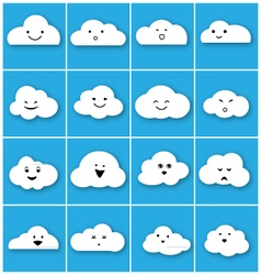 Cloud emotion icons set vector