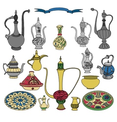 Colorful set of arabic ornamental crockery with vector