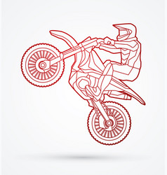 motorcycle cross jumping freestyle motocross vector image