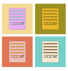 Assembly flat icons with thin lines checklist vector