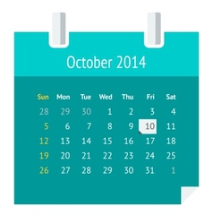 Flat calendar page for october 2014 vector