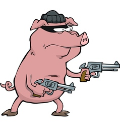 pig robber with guns vector image