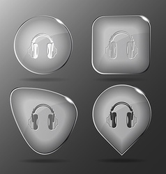 Headphones glass buttons vector