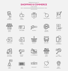 Line icons set Shopping Commerce vector image