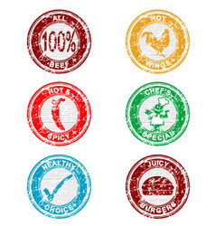 Grunge restaurant stamps collection vector